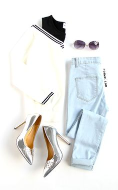 Black Varsity Striped Contrast Open Shoulder Sweatshirt with blue denim and sliver heels from romwe.com