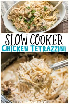 Creamy and decadent chicken tetrazzini cooked in the slow cooker! - the magical slow cooker Crockpot Dishes, Crock Pot Slow Cooker, Crock Pot Cooking, Slow Cooker Recipes, Crockpot Recipes, Cooking Recipes, Slow Cooker Easy Meals, Slow Cook Chicken Recipes, Slow Cooker Chicken Pasta