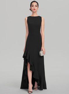599aecca67dd A-Line Princess Scoop Neck Asymmetrical Satin Evening Dress With Cascading  Ruffles Κρέπες