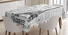 Ambesonne Paris Tablecloth, Traditional Famous Parisian Elements Bonjour Croissan Coffee Eiffel Tower Print, Rectangular Table Cover for Dining Room Kitchen Decor, X Black White Fitted Tablecloths, Kitchen Tablecloths, Tablecloth Sizes, Tablecloth Fabric, Kitchen Decor, Room Kitchen, Dining Room, Kitchen Dining, Bonjour