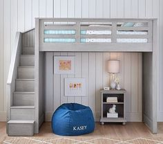 Bunk beds are great for siblings and sleepovers. Shop Pottery Barn Kids' bunk beds and loft beds for kids with functional and sturdy styles. Bunk Beds With Stairs, Kids Bunk Beds, Loft Bed Stairs, Loft Bed With Couch, Build In Bunk Beds, Full Bed Loft, Kids Beds For Boys, Bed Couch, Toddler Girls
