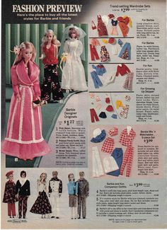 What Barbie was wearing in 1975, from the Sears holiday catalog.