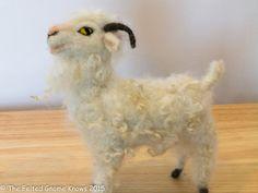 Needle Felted Angora Goat by TheFeltedGnomeKnows on Etsy