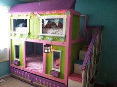 pink princess bunk bed | decorative bedroom | kinderkamer
