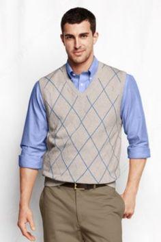 Men's Supima Cotton Argyle Vest from Lands' End