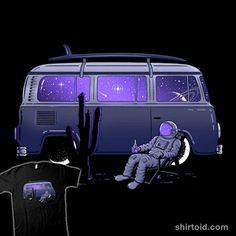 Star Trippin'   Shirtoid #astronaut #bus #gammaray #gammaray85 #planets #space #spaceman #stars #volkswagentransporter