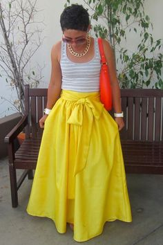 Discover this look wearing Yellow DIY Skirts, Red Kate Spade Bags, Silver Gap Ts, Shirts - DIY Skirt! Loving Yellow and Big Bows by mimig styled for Casual, Shopping Date in the Spring Look Fashion, Diy Fashion, Ideias Fashion, Womens Fashion, Dress Fashion, Cheap Fashion, Trendy Fashion, Fashion Ideas, Fashion Shoes