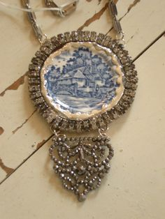 Broken transferware dish necklace with rhinestones and steel cut buckle
