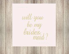 DIY druckbare werden Sie meine Brautjungfer Glitter Buchstaben-Print mit Ihren eigenen