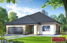 Projekt domu Gratka , wizualizacja 1 Car Covers, Cool House Designs, Bungalow, Home Goods, Porch, Garage Doors, Exterior, Garden, Outdoor Decor