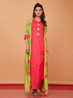 Pink Cotton Maxi Dress with Green Printed Jacket - Set of 2