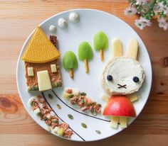 "How would you encourage a picky eater to taste with new foods? See what super-creative mom Samantha Lee has been concocting for her kids. (These aren't your average ""bento"". Baby Food Recipes, Great Recipes, Cooking Recipes, Cooking Food, Cooking Tips, Cute Food, Good Food, Yummy Food, Food Art For Kids"