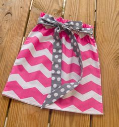 Pink Chevron Tie Skirt Girls Boutique Party by KarolinaDesigns