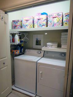 Laundry closet storage... looks the same as my laundry area... minus the super organized shelving! :-)