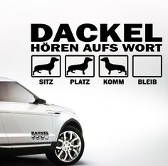 Siviwonder Auto Aufkleber DACKEL TECKEL Hunde Hören aufs Wort Hundeaufkleber 30cm silber metallic: Amazon.de: Auto