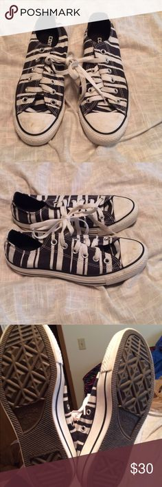 Zebra colored converse size 7 Women's size 7. Great shape! Converse Shoes Sneakers