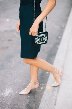 Love this Chanel striped clutch via Damsel in Dior
