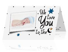 Zwart wit jongens geboortekaartje met maanversje en stippen