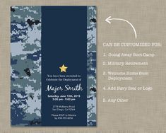 Navy Party Invitation / Deployment / Boot by JustAddPaperDesigns