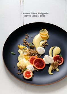 Meyer Lemon Mess / Lemon Fire Brigade with Turkish Apricot, Basil, and Oat Cookie Crumb Deconstructed Food, Hot Chocolate Sauce, Candied Lemons, Molecular Gastronomy, Lemon Curd, Food Plating, Plating Ideas, Plated Desserts, Food Presentation