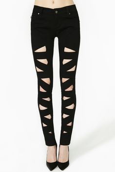 Lattice Leg Skinny Jeans $88