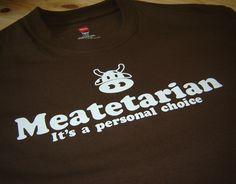 Brown Meatetarian meat hamburger steak bacon lover by geekthings, $16.99