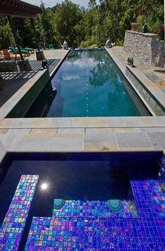 - Lightstreams Glass Pool Tile | Royal Blue and Galaxy Blue
