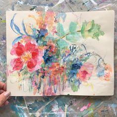 """@sonaln on Instagram: """"todays sketchbook . . . #painting #sketchbook #abstractflowers #spring #iloveflowers…"""""""