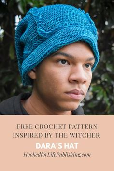 Dara's Hat to Crochet - Hooked for Life Inspired by Season One of The Witcher, Dara's brimmed hat with loop stitch trim is a pretty close recreation! Video tutorial available for loop trim placement, Unique Crochet, Beautiful Crochet, Free Crochet, Crochet Designs, Crochet Patterns, Hat Patterns, Crochet World, Brim Hat, Crochet Hooks