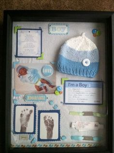 used his baby blanket as the background, all the goodies from the hospital, the BOY sticker from my baby shower invites, scrapbooking embellishments. Love my baby boy! have all his baby stuff to keep and look back on forever! Baby Collage, Ideas Scrapbook, Baby Scrapbook, Pregnancy Scrapbook, Newborn Shadow Box, Diy Shadow Box, Shadow Box Baby, Shadow Frame, Baby Memories