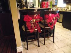 Copy Cat Looks: DIY Christmas Chair Tiebacks (would use as baby shower decor)