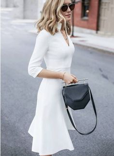 Polyester Solid 3/4 Sleeves Knee-Length Casual Dresses