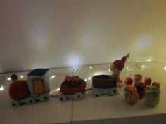 kersttrein gehaakt door Gerda