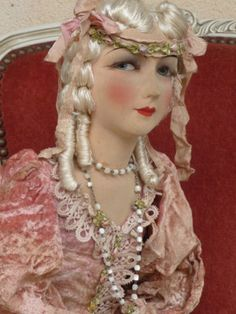 "ANTIQUE FRENCH BOUDOIR DOLL.PARIS 1920 RARE SILK /37INCHES **""And.... and how shall I profit from this agreement?""**"