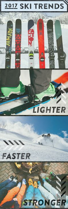 The 2017 ski season is just around the corner and we hope you're just as excited as we are. This season's skis, boots and bindings are looking better than ever. Innovation abounds, and we're here to fill you in on what's trending. From narrower waist widt Ski Gear, Snowboarding Gear, Ski And Snowboard, Skateboard Gear, Ski Equipment, Ski Season, Ski Boots, Camping Gifts, Wakeboarding