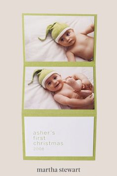 A three-part card delivers a pair of favorite photos, plus a simple greeting. For best results, use color photocopies or computer-paper printouts, which will make for a thinner stack than actual photographs. #marthastewart #christmas #diychristmas #diy #diycrafts #crafts