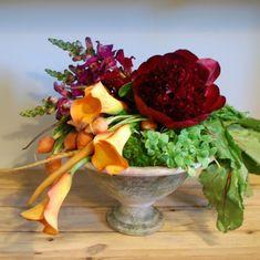 Great arrangements using vegetables  http://www.designsponge.com/2012/11/bountiful-arranging-using-vegetables.html