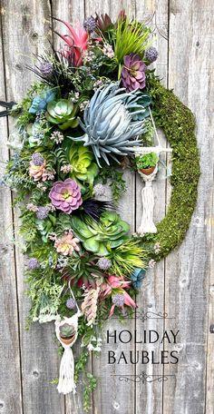Moss Wreath, Succulent Wreath, Succulent Pots, Grapevine Wreath, Valentine Day Wreaths, Valentine Decorations, Christmas Wreaths, Moss Decor, Buy Succulents