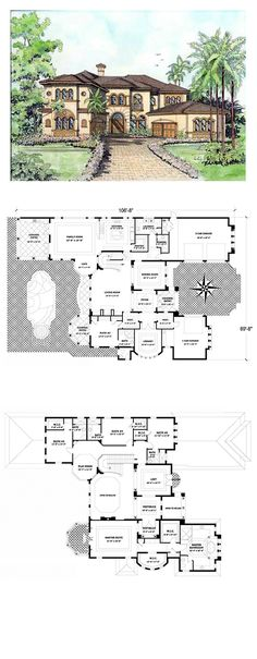 Italian House Plan 55786 | Total Living Area: 5642 sq. ft., 5 bedrooms & 6 bathrooms. #houseplan #italianstyle