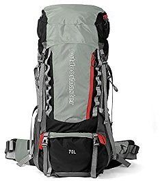 OutdoorMaster 70L5L Internal Frame Backpacker Hiking Backpack with Waterproof Cover (Black) : Sports & Outdoors