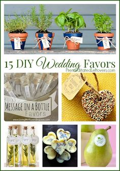 15 Frugal DIY Wedding Favors - tips and ideas for creating inexpensive, homemade wedding favors that match your wedding theme and colors.