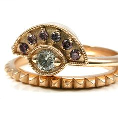 Purple and White Diamond Egyptian Engagement Ring Set - 18k Yellow Gold - Pyramids and Evil Eye Wedding