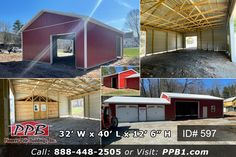 "Add an Addition to Your Garage! 32' W x 40' L x 12' 6"" H (ID# 597) This building has an estimated purchase price of between $30,500 and $49,800 depending on the options, code requirements, loading and delivery. Your actual building price could be less or more than this estimate, but most would fall in this range. *All prices are subject to change without notice. Request A Quote Today OR Look at Our Portfolio! PPB1.com #Addition #Garage #Red Pole Buildings, Garage Addition, Garage Design, Dream Garage, Garages, Motorhome, Construction, Outdoor, Products"