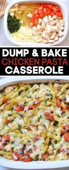 Enjoy this dump and bake chicken pasta casserole any day of the week Made with simple ingredients this family dinner is perfect for busy weeknights Kids love this pasta dish and I love how easy it is to toss everything into one dish and bake in the oven Chicken Basil Pasta, Grilled Chicken Pasta, Chicken Pasta Casserole, Chicken Pasta Dishes, Chicken Dishes For Dinner, Baked Pasta Dishes, Best Pasta Dishes, Tomato Dishes, Shrimp Pasta