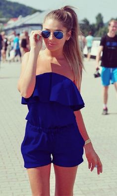 Navy Overlay Bandeau Strapless Rompers