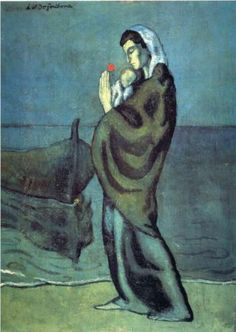 Mother and child on the beach - Pablo Picasso. Picasso captured such amazing pathos during his blue period Pablo Picasso Artwork, Kunst Picasso, Art Picasso, Picasso Blue, Picasso Paintings, Picasso Images, Georges Braque, Henri Rousseau, Guernica