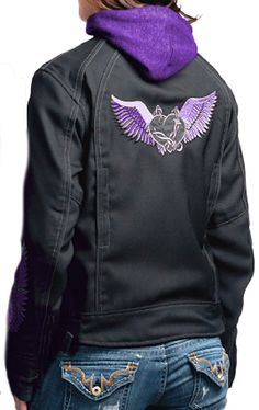 Ladies Black Purple Winged Heart Hooded Motorcycle Jacket