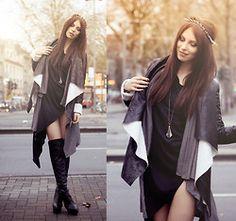 I want this coat!! <3    Romwe Dress, Choies Boots, Romwe Coat, Backstage Headpiece