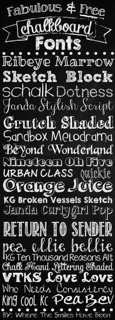 Fabulous & Free Chalkboard Fonts with links to download each of them! Via Where The Smiles Have Been. #chalkboard #fonts