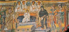 La adoración de los Magos, mosaico del arco triunfal, Basílica de Santa María la Mayor de Roma.